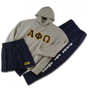 Grey hoodie with navy letters