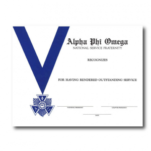 Blue and white service certificate