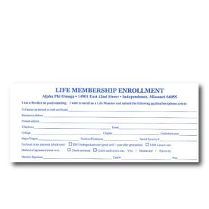 Life enrollment form