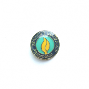 Blue and gold Petitioning pin