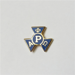 blue and gold colored pledge pin