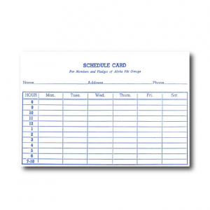 Note card for schedules