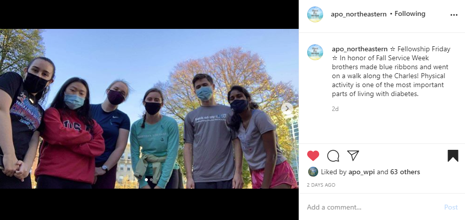 """Screenshot of Instagram post of a group of brothers on a walk on the left side. Caption on the right side reads """"Fellowship Friday in honor of Fall Service Week brothers made blue ribbons and went on a walk along the Charles! Physical activity is one of the most important parts of living with diabetes""""."""
