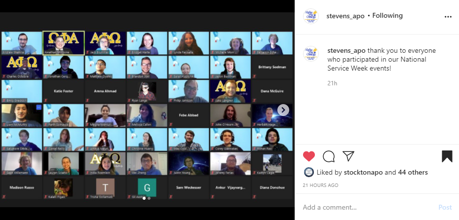 """Screenshot of Instagram post of group of 49 members on a video call to the left side. Caption to the right side. Text reads """"thank you to everyone who participated in our National Service Week events!"""""""