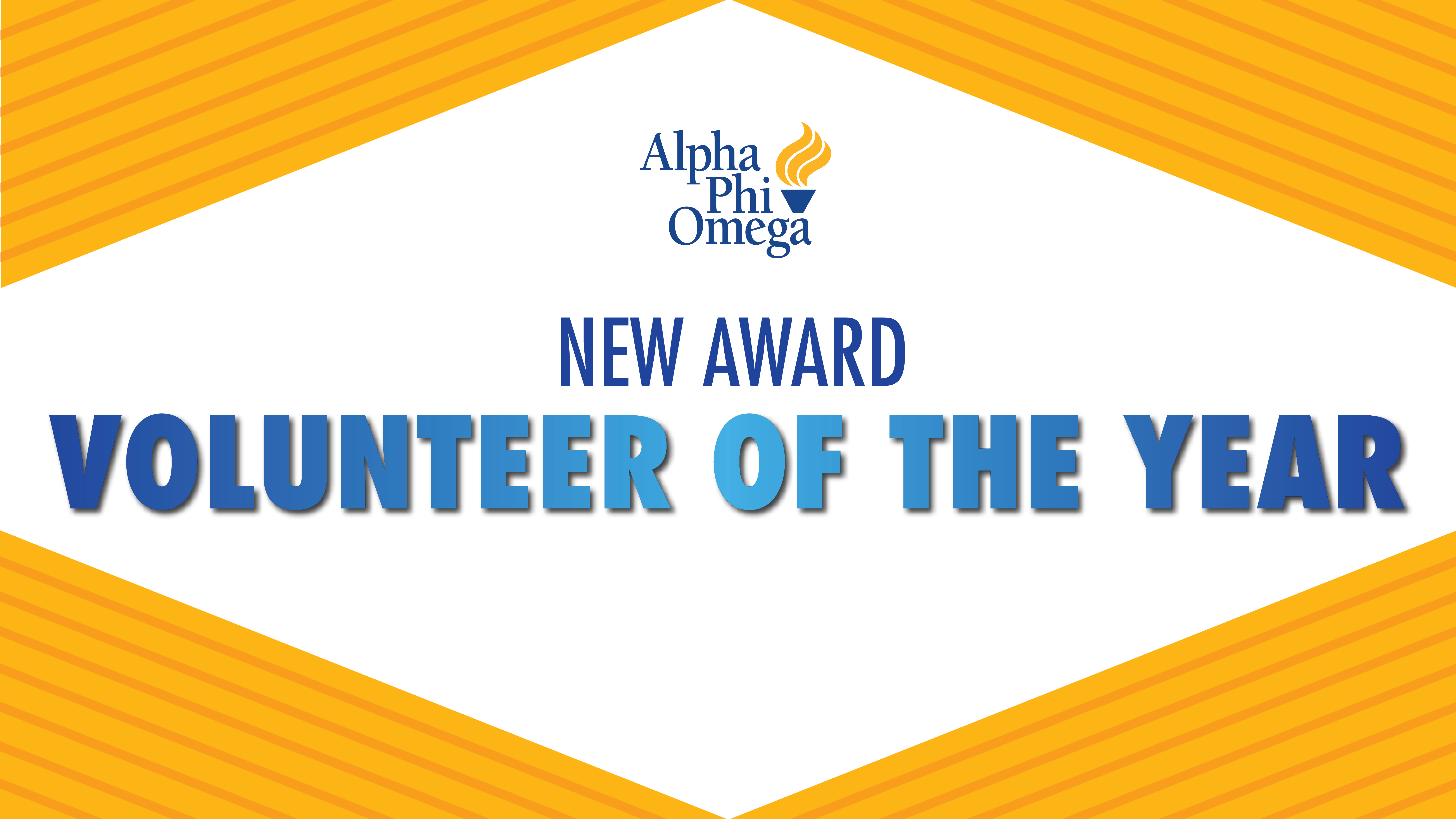 """Graphic with white background and yellow triangles with orange stripes in the four corners. Text in the middle reads """"New Award Volunteer of the Year"""". APO logo above text."""