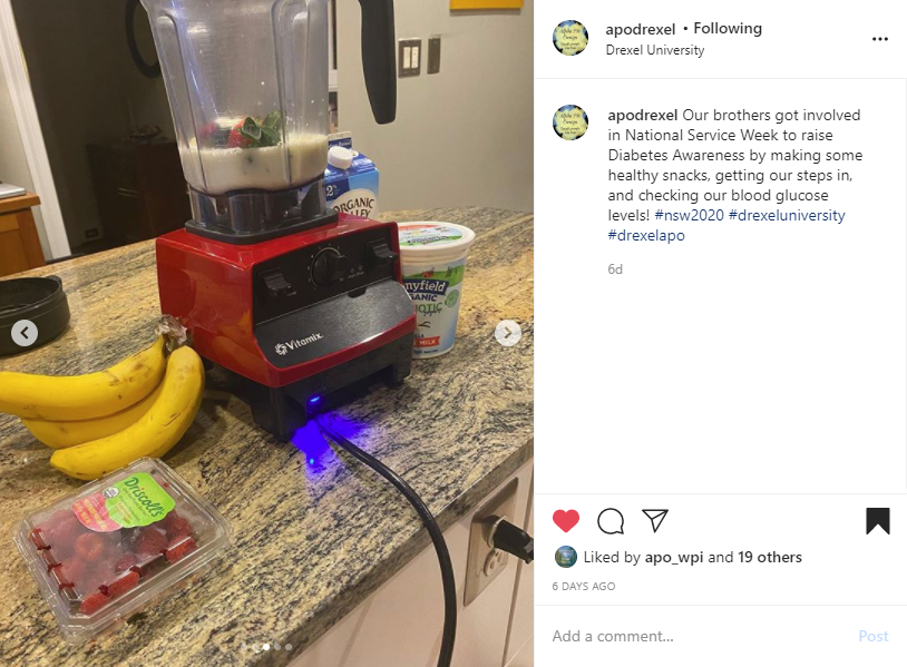 """Screenshot of Instagram post of a blender with fruit and yogurt on a counter on the left side. Caption box on the right side. Text reads """"Our brothers got involved in National Service Week to raise Diabetes Awareness by making some healthy snacks, getting our steps in, and checking our blood glucose levels! #nsw2020 #drexeluniversity #drexelapo""""."""