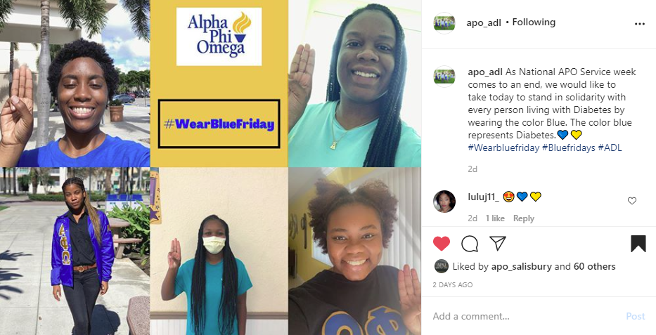 """Screenshot of Instagram post of four members holding up three fingers. one wearing APO letter jacket. Text at the top reads """"#wearBlueFriday"""" with the APO logo above on the left side. Caption on the right side reads """"As National APO Service week comes to an end, we would like to take today to stand in solidarity with every person living with Diabetes by wearing the color Blue. The color blue represents Diabetes #wearbluefriday #Bluefridays #ADL"""""""