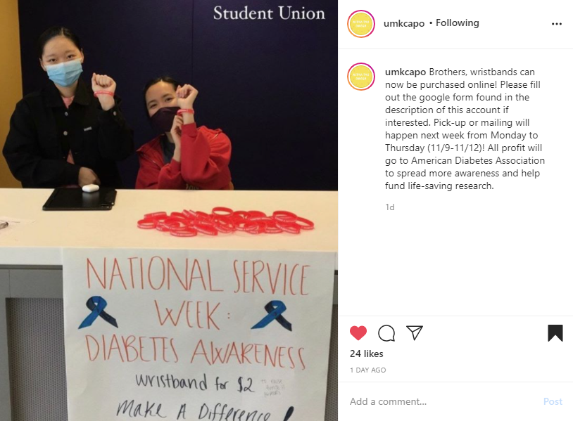 """Screenshot of Instagram post of two brothers at a table with a banner and wristbands for diabetes awareness on the left. Caption on the right reads """"Brothers, wristbands can now be purchased online! Please fill out the google form found in the description of this account if interested. Pick-up or mailing will happen next week from Monday to Thursday (11/9-11/12)! All profit will go to American Diabetes Association to spread more awareness and help fund life-saving research."""""""