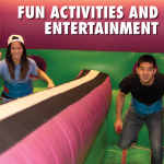 """members in a blowup. Text at the top reads, """"Fun activities and entertainment"""""""