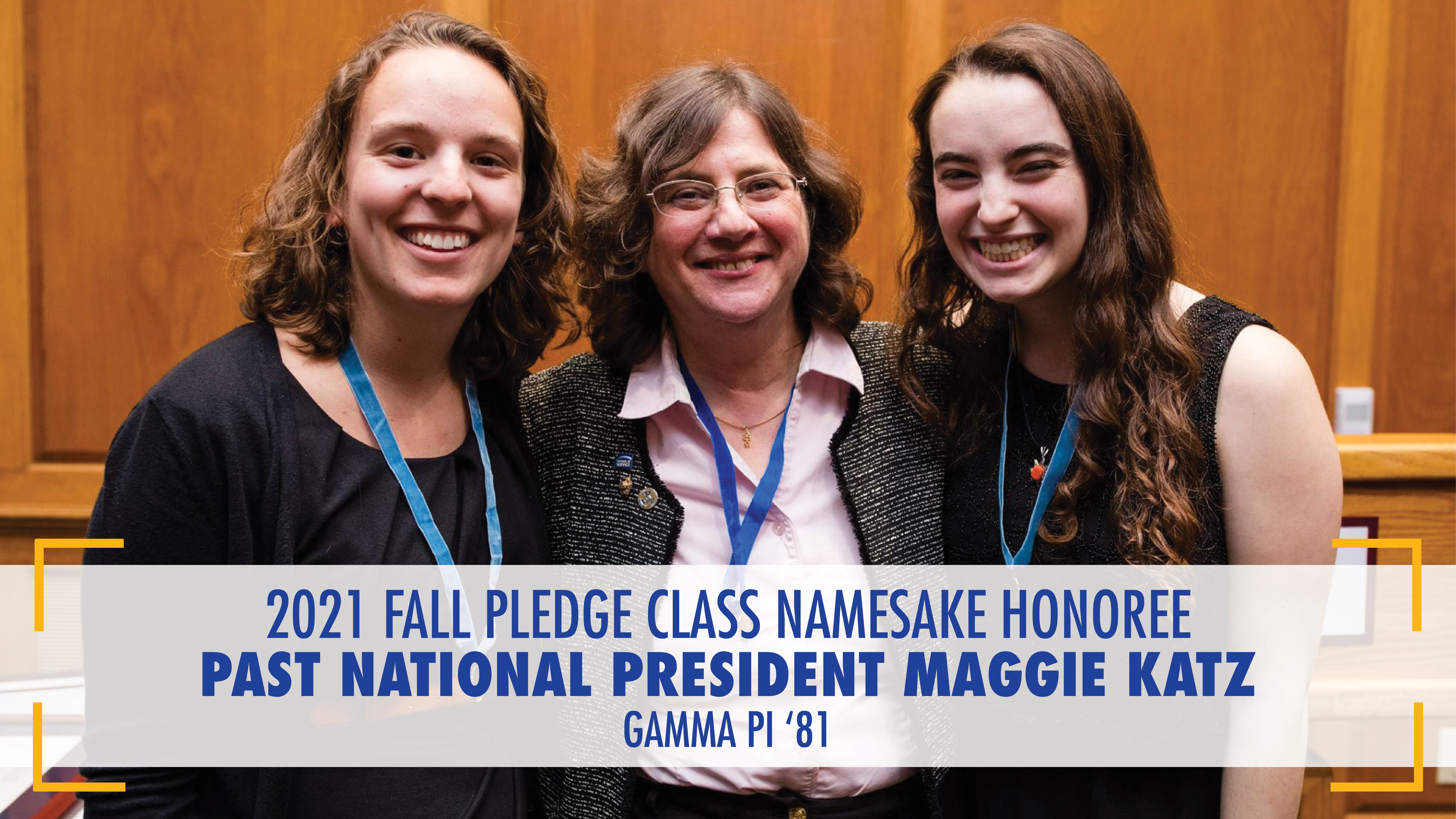 Past National President Maggie Katz smiling for photo with two students during chartering of Alpha Chapter