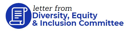 """Graphic that reads """"letter from Diversity, Equity & Inclusion Committee"""" in black and blue with a white background. graphic of scrolled paper in white with blue background."""