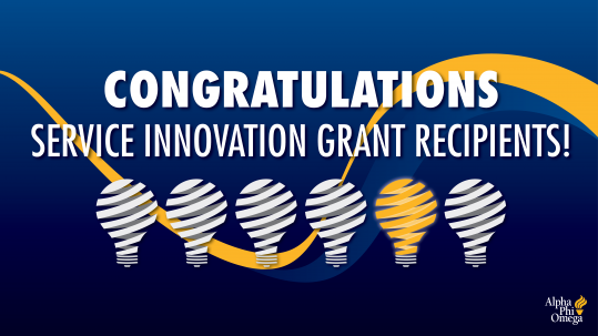 """Graphic with blue background with blue and yellow squiggly line from left to right. APO logo in bottom right corner. Six white light bulb and one yellow light bulb graphics in the middle of the graphic. Text above the light bulbs reads """"Congratulations Service Innovation Grant Recipients!"""""""