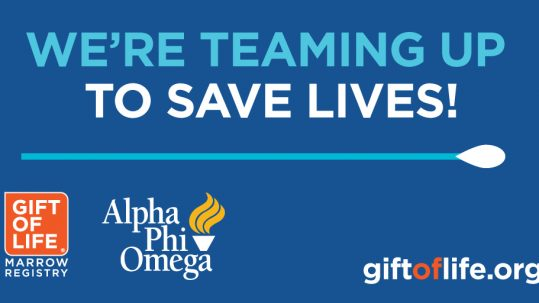 """Graphic on blue background. Text reads, """"We're teaming up to save lives!"""" Text is positioned over an illustration of a cotton swab. The Gift of Life Marrow Registry logo and Alpha Phi Omega logo are both in bottom left corner. giftoflife.org is in bottom right corner."""